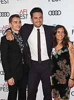HOLLYWOOD, CA - NOVEMBER 12: Betsy Franco-Feeney, Dave Franco, James Franco, at the AFI Fest 2017 Centerpiece Gala Presentation of The Disaster Artist on November 12, 2017 at the TCL Chinese Theatre in Hollywood, California. Credit: Faye Sadou/MediaPunch /NortePhoto.com