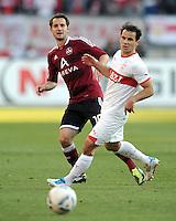 FUSSBALL   1. BUNDESLIGA  SAISON 2011/2012   10. Spieltag 1 FC Nuernberg - VfB Stuttgart         22.10.2011 Juri Judt (li, 1 FC Nuernberg) gegen Tamas Hajnal (VfB Stuttgart)