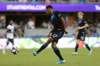 SAN JOSE, CA - AUGUST 24: Marcos Lopez #27 of the San Jose Earthquakes during a Major League Soccer (MLS) match between the San Jose Earthquakes and the Vancouver Whitecaps FC  on August 24, 2019 at Avaya Stadium in San Jose, California.