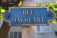 A street sign saying Rue Jacquart (which is also the name of a famous champagne house), Reims, Champagne, Marne, Ardennes, France