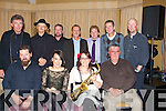 ENTERTAINERS: Musicians and entertainers who gave their time free on Friday night to raise funds for the Kerry Hospice Foundation in the Carlton Hotel, Tralee, Front l-r: John Connolly, Lorraine Kelly, Linda Galvin and Joe Boylan. Back l-r: Tom O'Brien, John Browne, Mossie O'Shea, Gregory Gryan, Noel Hartnett, Marco Smyth and Dave O'Brien..... ..........