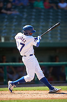 South Bend Cubs left fielder Eloy Jimenez (27) hits a home run during the second game of a doubleheader against the Peoria Chiefs on July 25, 2016 at Four Winds Field in South Bend, Indiana.  South Bend defeated Peoria 9-2.  (Mike Janes/Four Seam Images)