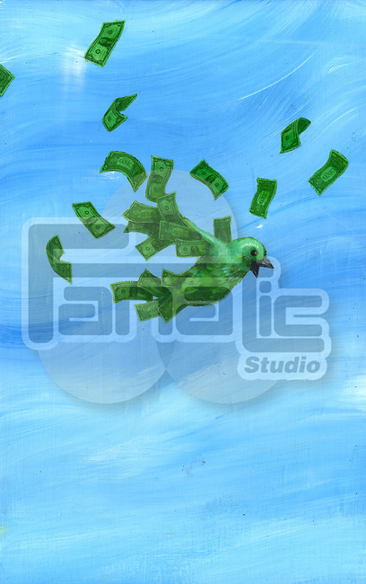 Illustrative image of bird losing wings representing bankruptcy