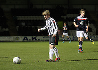 Jon Scullion in the St Mirren v Dundee Clydesdale Bank Scottish Premier League Under 20 match played at St Mirren Park, Paisley on 14.1.13.