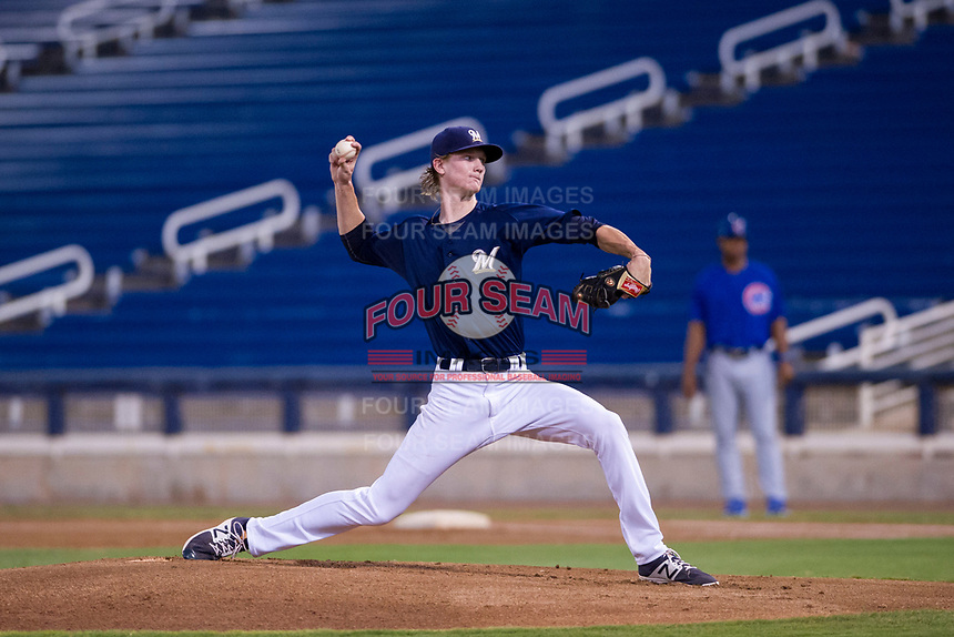 AZL Brewers Caden Lemons (18) delivers a pitch to the plate against the AZL Cubs at Maryvale Baseball Park in Phoenix, Arizona. AZL Cubs defeated the AZL Brewers 9-1. (Zachary Lucy/Four Seam Images)