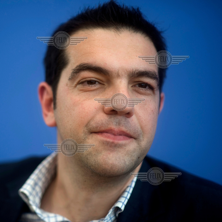 Alexis Tsipras, leader of the Greek Syriza Party, at a press conference organised by the German Left Party ('Die Linke'). Tsipras leads a left-wing umbrella group of Greek left-wing and green parties who are opposed to the austerity measure imposed on the country to overcome its sovereign debt crisis. The party did well in the May 2012 Greek parliamentary elections which resulted in deadlock, with no party strong enough to form a government. Greek voters will go the polls again on June 17 in a second attempt at electing a viable government.