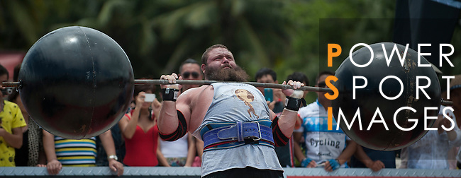 HAINAN ISLAND, CHINA - AUGUST 24:  Robert Oberst of USA competes at the Circus Medley event during the World's Strongest Man competition at Yalong Bay Cultural Square on August 24, 2013 in Hainan Island, China.  Photo by Victor Fraile