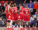 Jan 24, 2018; Champaign, IL, USA; Indiana Hoosiers forward Justin Smith (3), guard Robert Johnson (4), forward Freddie McSwain Jr. (21), guard Aljami Durham (1), and guard Josh Newkirk (2) wait for the end of a timeout during the second half against the Illinois Fighting Illini at State Farm Center. Mandatory Credit: Mike Granse-USA TODAY Sports