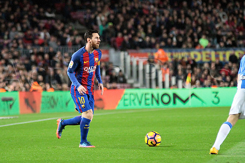 February 19th 2017, Nou Camp, Barcelona, Spain; La liga, Barcelona versus Leganes; Messi in action during the match