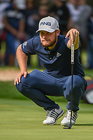 Tyrrell Hatton (ENG) lines up his putt on 15 during round 3 of the World Golf Championships, Mexico, Club De Golf Chapultepec, Mexico City, Mexico. 2/23/2019.<br /> Picture: Golffile | Ken Murray<br /> <br /> <br /> All photo usage must carry mandatory copyright credit (© Golffile | Ken Murray)