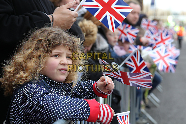 Member of the Public .Waiting to greet the Royal family during  their visit to Leicester, on first date of Queen Elizabeth II's Diamond Jubilee tour of the UK, England, UK, .March 8th 2012..half length   patriotic flags  union jack .CAP/HIL.©John Hillcoat/Capital Pictures.