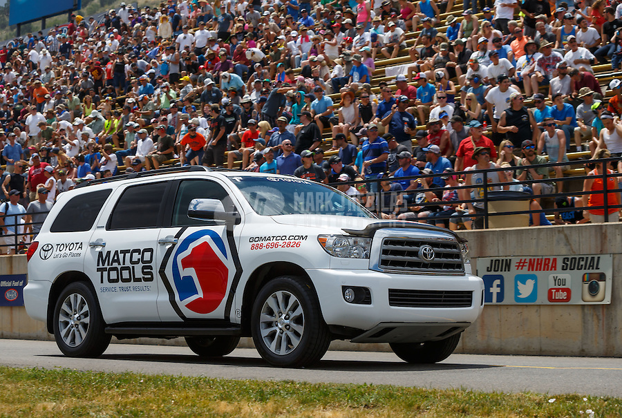 Jul 24, 2016; Morrison, CO, USA; Tow vehicle for NHRA top fuel driver Antron Brown during the Mile High Nationals at Bandimere Speedway. Mandatory Credit: Mark J. Rebilas-USA TODAY Sports
