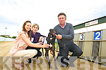 Adrienne Lynch, Rosa Bambury, greyhound ''Rusheen Lad'' and Tom Bambury  at the Kingdom Greyhound Stadium on Monday.
