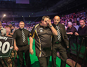 09.04.2015. Sheffield, England. Betway Premier League Darts. Matchday 10.  Adrian Lewis [ENG] at the end of his game with James Wade [ENG]