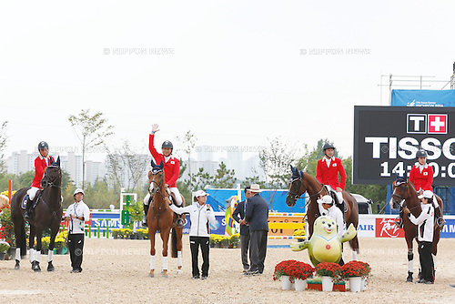 Japan team group (JPN), <br /> SEPTEMBER 26, 2014 - Equestrian : <br /> Eventing Jumping Medal ceremony <br /> at Dream Park Equestrian Venue <br /> during the 2014 Incheon Asian Games in Incheon, South Korea. <br /> (Photo by AFLO SPORT)