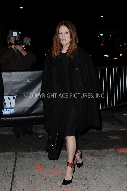 WWW.ACEPIXS.COM<br /> January 14, 2015 New York City<br /> <br /> Julianne Moore arrives to tape an appearance on the The Daily Show with Jon Stewart on  November, 2015 in New York City.<br /> <br /> Please byline: Kristin Callahan/AcePictures<br /> <br /> ACEPIXS.COM<br /> <br /> Tel: (212) 243 8787 or (646) 769 0430<br /> e-mail: info@acepixs.com<br /> web: http://www.acepixs.com