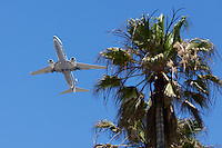 Alaska Airlines aeroplane takes off from Los Angeles airport in California