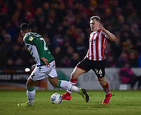 Lincoln City's Harry Anderson runs at Yeovil Town's Adel Gafaiti<br /> <br /> Photographer Andrew Vaughan/CameraSport<br /> <br /> The EFL Sky Bet League Two - Lincoln City v Yeovil Town - Friday 8th March 2019 - Sincil Bank - Lincoln<br /> <br /> World Copyright © 2019 CameraSport. All rights reserved. 43 Linden Ave. Countesthorpe. Leicester. England. LE8 5PG - Tel: +44 (0) 116 277 4147 - admin@camerasport.com - www.camerasport.com