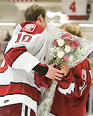 Eric Kroshus (Harvard - 10), Claire Kroshus - The Harvard University Crimson defeated the visiting Clarkson University Golden Knights 3-2 on Harvard's senior night on Saturday, February 25, 2012, at Bright Hockey Center in Cambridge, Massachusetts.