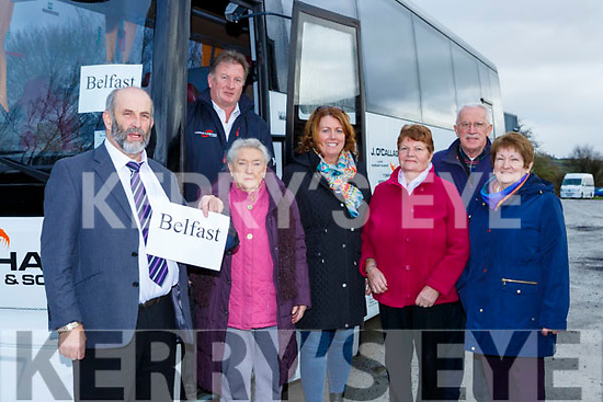 Danny Healy Rae TD  with the patients before they boarded the bus to Belfast for their cataract operations on Saturday morning l-r: Pat Doyle (driver) , Margaret Sheehan Kilduff Ann Marie Casey Killarney, Mary Ellen Hickey Rathmore, Patrick Casey Tralee and Eileen Kennedy Ballymac