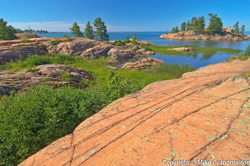 Precambrian Shield rock on the Chikanishing Trail  along Georgian Bay (Lake Huron)<br />Killarney Provincial Park<br />Ontario<br />Canada