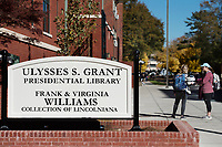 Ulysses S. Grant Presidential Library sign.<br />  (photo by Megan Bean / &copy; Mississippi State University)