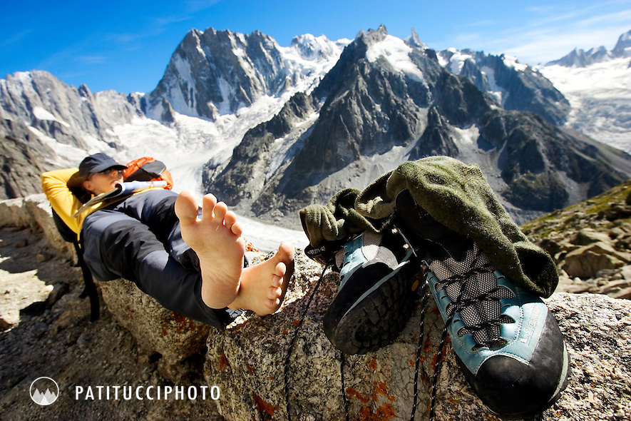 Janine Patitucci napping on the Couvercle Hut deck