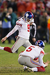 New York Giants kicker Lawrence Tynes (9) kicks the winning field goal in overtime during an NFC Championship NFL football game against the San Francisco 49ers on January 22, 2012 in San Francisco, California. The Giants won 20-17 in overtime. (AP Photo/David Stluka)