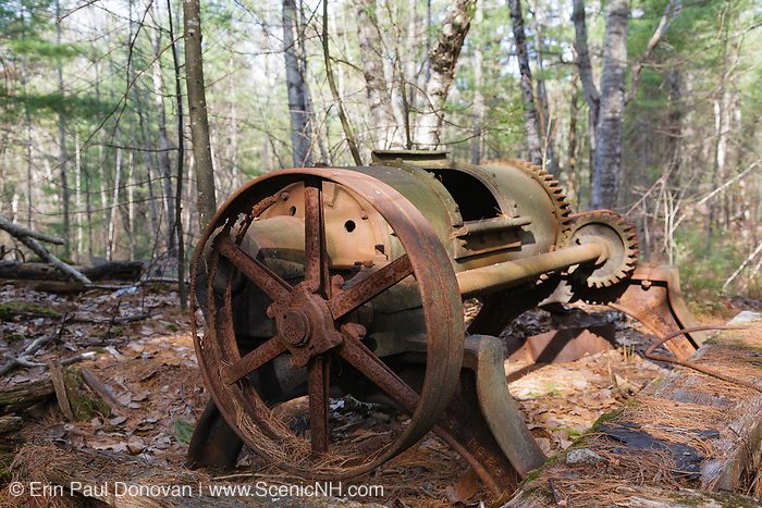 Rock Tumbler, used to polish granite, at the abandoned Redstone Granite quarry in Conway, New Hampshire. This quarry opened in the late eighteen hundreds and closed in the nineteen forties.