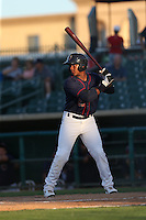 Ronnie Mitchell (25) of the Lancaster JetHawks bats during a game against the Visalia Rawhide at The Hanger on June 16, 2015 in Lancaster, California. Lancaster defeated Visalia, 11-3. (Larry Goren/Four Seam Images)