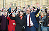 Sarah Olney meet by her fellow Liberal Democrat MP's, (inc Tim Farron MP Leader of the Liberal Democrats) Peers and activists just before being sworn in as the new Member of Parliament.<br /> 5th December 2016 at <br /> College Green, Westminster, London, Great Britain <br /> <br /> Sarah Olney and Tim Farron <br /> <br /> Photograph by Elliott Franks <br /> Image licensed to Elliott Franks Photography Services