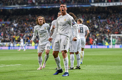 12.04.2016. Madrid, Spain. UEFA Champions League, quarterfinal second leg. Real Madrid versus VfL Wolfsburg.   Cristiano Ronaldo (Real Madrid) celebrates his goal for 2:0