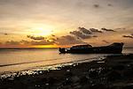 The Van Camp shipwreck at sunset in Funafuti, Tuvalu. It was blown ashore during hurricane Bebe on October 21, 1972.