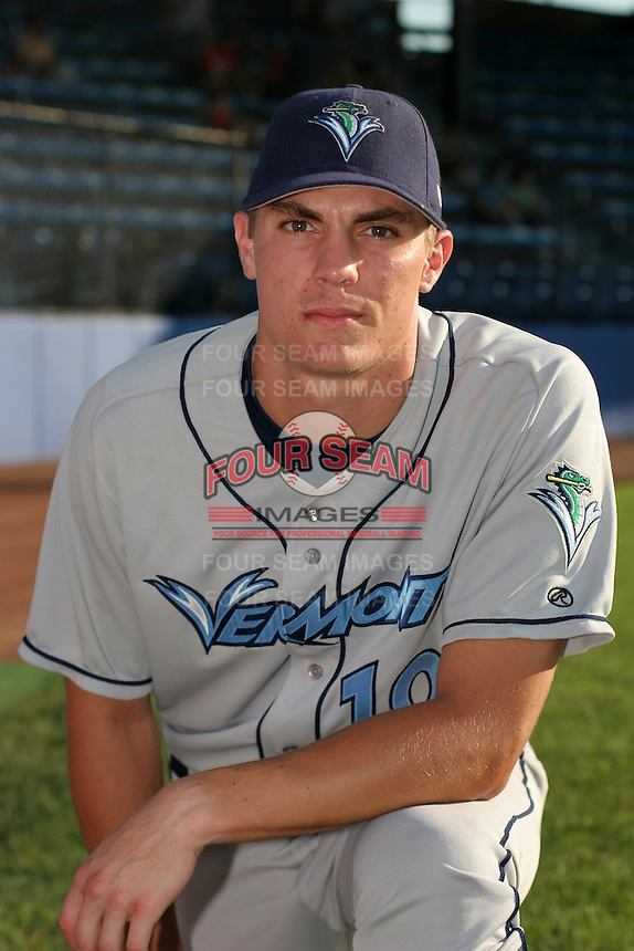 Vermont Lake Monsters Pat Nichols poses for a photo before a NY-Penn League game at Russell Diethrick Park on July 19, 2006 in Jamestown, New York.  (Mike Janes/Four Seam Images)