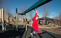 NWA Democrat-Gazette/BEN GOFF @NWABENGOFF<br /> Ainsley Stephens, 7, of Bentonville plays Thursday, Dec. 21, 2017, at Dave Peel Park in downtown Bentonville. Funding from a Walton Family Foundation Design Excellence Program grant is slated to be used for a redesign of the popular park near the downtown square.