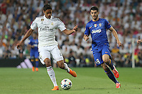 Juventus forward  Alvaro Morata and Real Madrid's French defense Raphael Varane