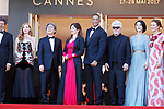 Montee des marches 17 mai 2017 ceremonie d ouverture<br /> <br /> <br /> Jessica Chastain, Will Smith, Pedro Almodovar