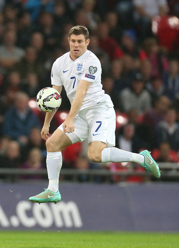 England's James Milner  in action during todays match  <br /> Photographer Kieran Glavin/CameraSport<br /> <br /> International Football - UEFA EURO 2016 - European Qualifiers Group E - England v San Marino - Thursday 9th October 2014 - Wembley Stadium - London <br /> <br /> &copy; CameraSport - 43 Linden Ave. Countesthorpe. Leicester. England. LE8 5PG - Tel: +44 (0) 116 277 4147 - admin@camerasport.com - www.camerasport.com