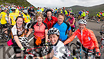 Triona Evans, Castlemaine, Eileen Prendeville, Castlemaine, Siobhan Sugrue, Castlemaine, Anthony Evans, Castlemaine, Derek Kenny, Dublin and Kay Kenny, Castlemaine at the top of Coomakista at the Ring of Kerry cycle on Saturday.