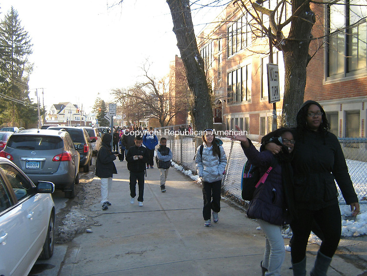 WATERBURY -- Students and parents leaving Chase Elementary School Friday afternoon.