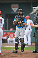 Akron RubberDucks catcher Daniel Salters (11) during a game against the Harrisburg Senators on August 19, 2018 at FNB Field in Harrisburg, Pennsylvania.  Akron defeated Harrisburg 3-0 in a rain shortened game.  (Mike Janes/Four Seam Images)