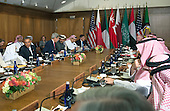 United States President Barack Obama host a working lunch with members of six Persian Gulf nations during the Gulf Cooperation Council-U.S. summit at Camp David, the Presidential Retreat near Thurmont, Maryland, on May 14, 2015. Obama hosted leaders from Saudi Arabia, Kuwait, Bahrain, Qatar, the United Arab Emirates and Oman to discuss a range of issues including the Iran nuclear deal. <br /> Credit: Kevin Dietsch / Pool via CNP
