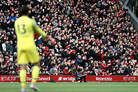 Liverpool fans react during the first half as goalkeeper Alisson Becker looks on<br /> <br /> Photographer Rich Linley/CameraSport<br /> <br /> The Premier League - Liverpool v Manchester City - Sunday 7th October 2018 - Anfield - Liverpool<br /> <br /> World Copyright &copy; 2018 CameraSport. All rights reserved. 43 Linden Ave. Countesthorpe. Leicester. England. LE8 5PG - Tel: +44 (0) 116 277 4147 - admin@camerasport.com - www.camerasport.com