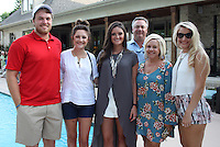 NWA Democrat-Gazette/CARIN SCHOPPMEYER Alex Martin (from left), Abbi Harlin, Meredith Mason, Chris and Missy Harlin and Ashlyn Abbott help support Pagnozzi Charities on July 9.