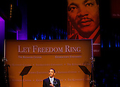 """United States President Barack Obama delivers remarks at  """"Let Freedom Ring"""" concert in commemoration of Dr. Martin Luther King, Jr's. birthday at the Kennedy Center featuring nationally renowned artists and choir members from Washington area churches, Washington, DC, Monday, January 18, 2010..Credit: Aude Guerrucci / Pool via CNP"""