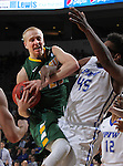 SIOUX FALLS, SD - MARCH 7:  A.J. Jacobson #21 of North Dakota State battles for the ball with Brent Calhoun #45 of Fort Wayne in the 2016 Summit League Tournament.  (Photo by Dick Carlson/Inertia)