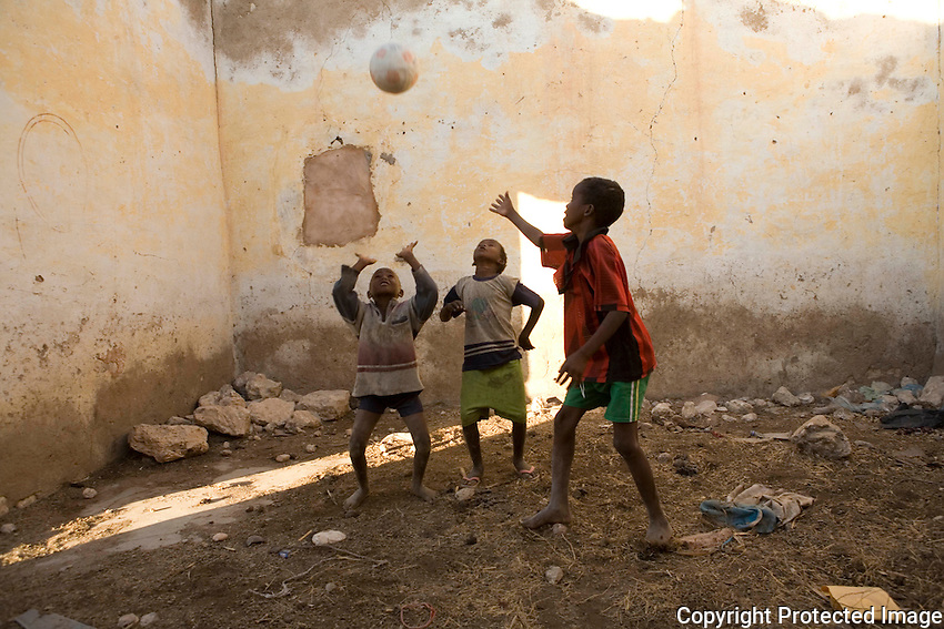 Children at  play in IDP camp, Galkayo Somalia..