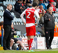 Assistant Head Coach Rob Kelly gives instructions to Fleetwood Town's Conor McLaughlin<br /> <br /> Photographer David Shipman/CameraSport<br /> <br /> The EFL Sky Bet League One - Peterborough United v Fleetwood Town - Friday 14th April 2016 - ABAX Stadium  - Peterborough<br /> <br /> World Copyright &copy; 2017 CameraSport. All rights reserved. 43 Linden Ave. Countesthorpe. Leicester. England. LE8 5PG - Tel: +44 (0) 116 277 4147 - admin@camerasport.com - www.camerasport.com