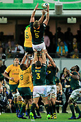 9th September 2017, nib Stadium, Perth, Australia; Supersport Rugby Championship, Australia versus South Africa; Pieter-Steph du Toit of the South African Springboks wins the line out during play in the second half