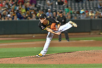 Salt Lake Bees starting pitcher Tim Lincecum (27) delivers a pitch to the plate against the Las Vegas 51s in Pacific Coast League action at Smith's Ballpark on September 4, 2016 in Salt Lake City, Utah. The Bees defeated the 51s 4-3. (Stephen Smith/Four Seam Images)